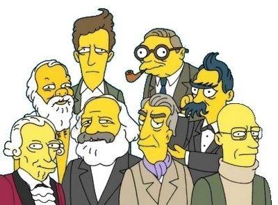 Sócrates, Wittgenstein, Sartre e Nietzsche. Abaixo: Kant, Marx, Barthes e Foucault.
